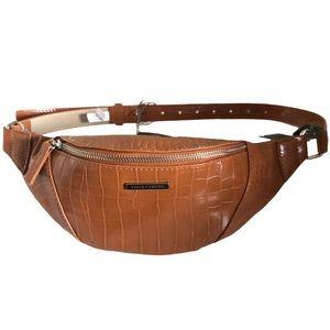 Vince Camuto Tan Faux Leather Belt Bag Sling Bag